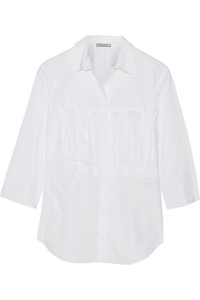 NINA RICCI Pintucked cotton-poplin shirt