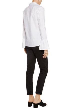 IRIS AND INK Pleated cotton-poplin shirt
