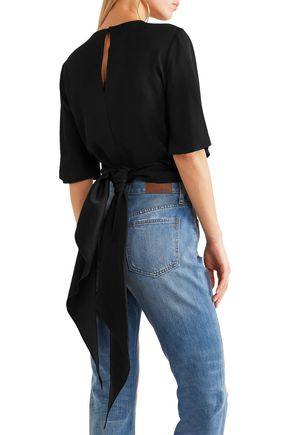 •ELLERY• Dalliance cropped crepe wrap top