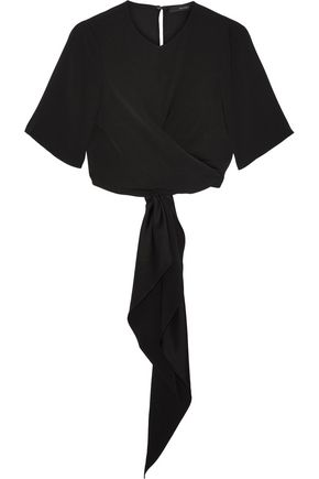 ELLERY Dalliance cropped crepe wrap top