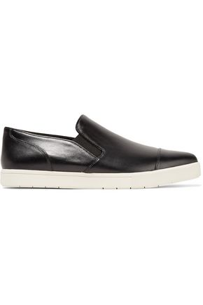 VINCE. Paeyre glossed-leather slip-on sneakers