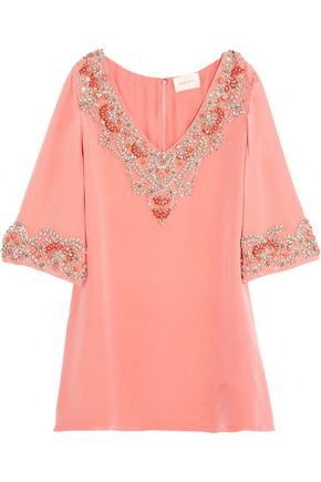 MARCHESA NOTTE Embellished silk top