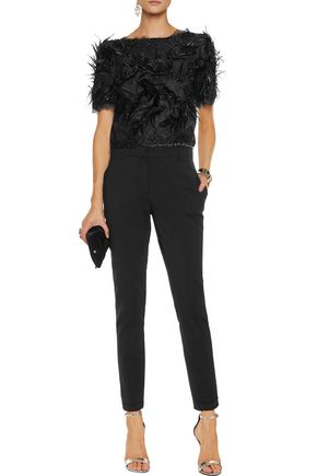 MARCHESA NOTTE Faux feather and bead-embellished lace top