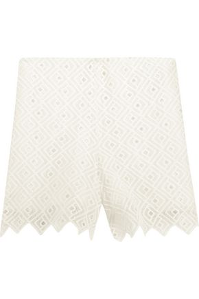 SANDRO Paris Embroidered crepe shorts