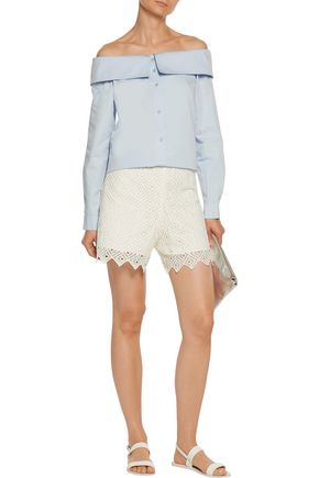 SANDRO Embroidered crepe shorts
