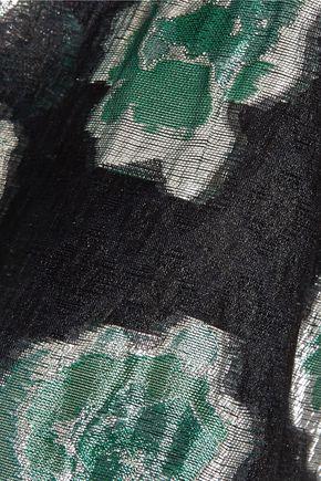 LELA ROSE Asymmetric metallic fil coupé chiffon top