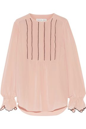 RACHEL ZOE Regina pintucked silk-satin blouse