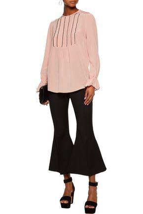 RACHEL ZOE Regina pintucked silk-satin blouse