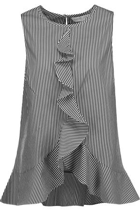 RACHEL ZOE Lacey ruffled striped cotton and silk-blend top
