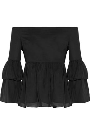 RACHEL ZOE Charlotte off-the-shoulder cotton-blend faille and silk-satin top