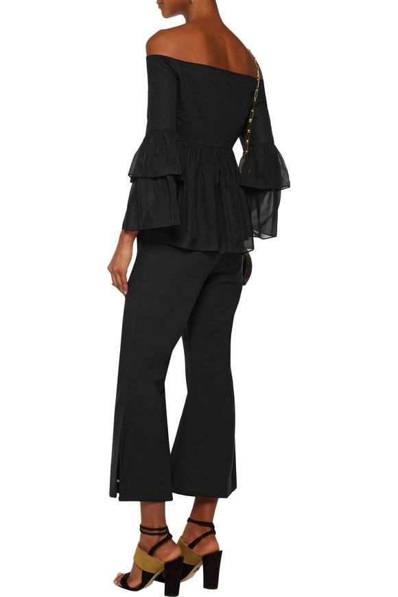 Charlotte off-the-shoulder cotton-blend faille and silk-satin top | RACHEL  ZOE | Sale up to 70% off | THE OUTNET