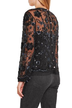 NEEDLE & THREAD Lace-trimmed embellished tulle top