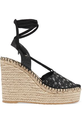 ASH Tessa sequin-embellished canvas wedge sandals