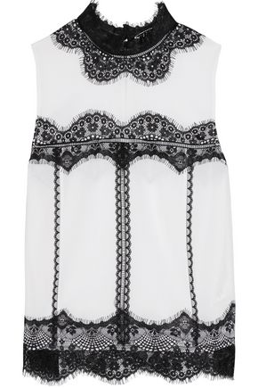 ALICE + OLIVIA Lettie lace-paneled washed silk-blend top