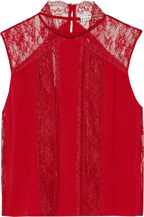 ALICE + OLIVIA Jannette lace-paneled pintucked crepe de chine top