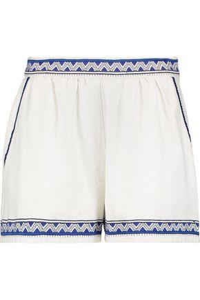 MAJE Ilario embroidered cotton-canvas shorts