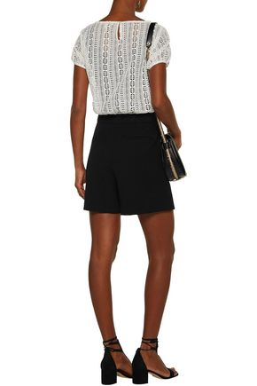 MAJE Ilicci layered crocheted stretch-jersey and crepe playsuit