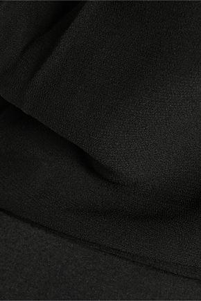 MAJE Rene cutout paneled chiffon and broadcloth playsuit