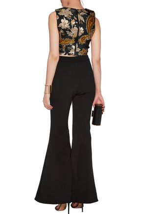 ALICE + OLIVIA Jaya metallic cropped matelassé top