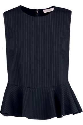 A.L.C. Casara pinstriped twill peplum top