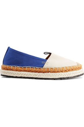 ACNE STUDIOS Bibiana leather-trimmed embroidered canvas espardrilles