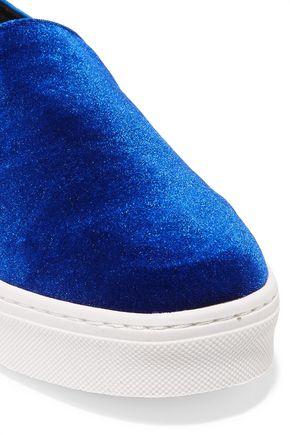 SAM EDELMAN Lacey velvet slip-on sneakers