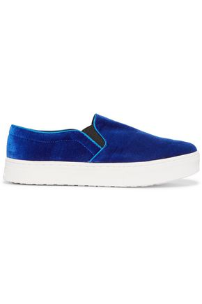 SAM EDELMAN Lacey velvet slip-on sneakers
