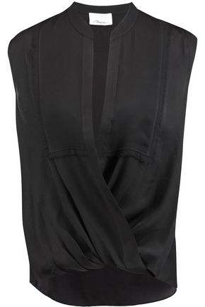 3.1 PHILLIP LIM Wrap-effect draped silk-chiffon blouse