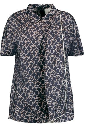 3.1 PHILLIP LIM Draped printed silk blouse