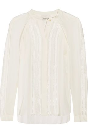 3.1 PHILLIP LIM Fringed silk and chiffon top