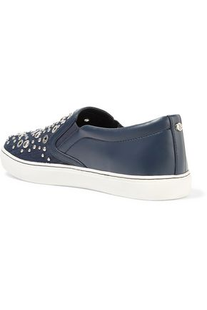 SAM EDELMAN Paven embellished leather and denim slip-on sneakers