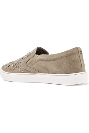 SAM EDELMAN Paven embellished leather and suede slip-on sneakers