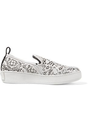McQ Alexander McQueen Rubber-paneled perforated leather slip-on sneakers