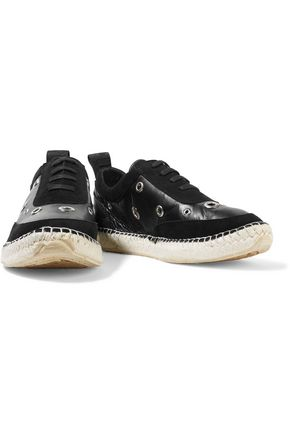 McQ Alexander McQueen Embellished suede and leather sneakers