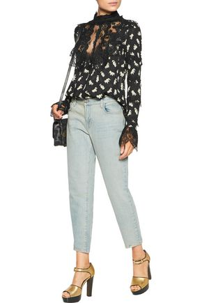 ANNA SUI Shadow Cats lace-paneled printed georgette blouse