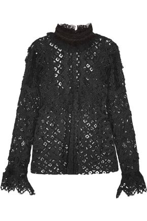 ANNA SUI Magical Mystery ruffled lace and mesh blouse