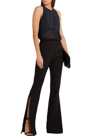 DION LEE Swarovski crystal-embellished scuba and silk-chiffon top