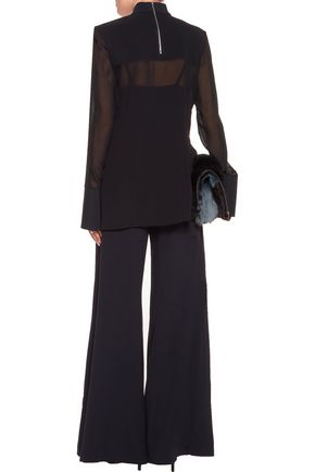 DION LEE Swarovski crystal-embellished neoprene-paneled silk-georgette blouse