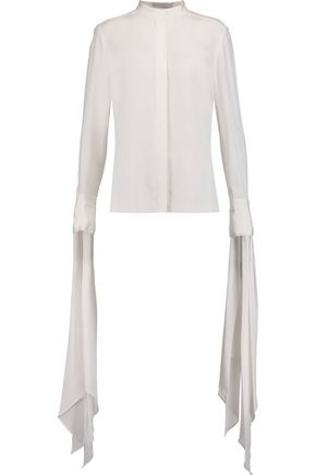 DION LEE Draped silk-crepe blouse