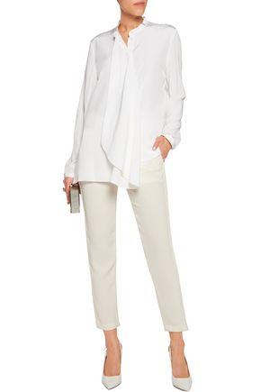 DION LEE Draped silk-crepe shirt
