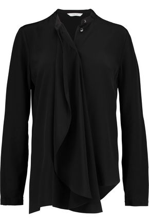 DION LEE Draped silk-crepe shirt