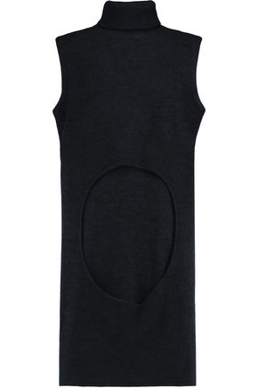 DION LEE Circle cutout merino wool turtleneck top