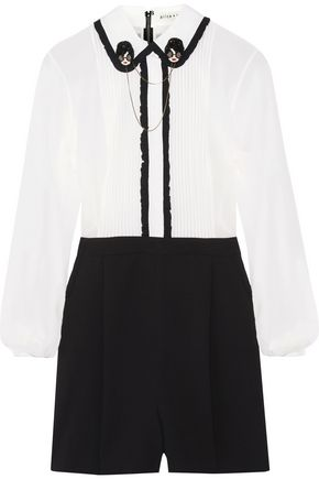 ALICE + OLIVIA Kara embellished ruffle-trimmed chiffon and stretch silk-crepe playsuit