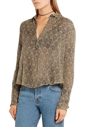 MES DEMOISELLES Feve printed crinkled-georgette blouse