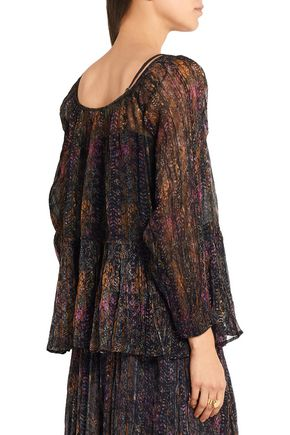 MES DEMOISELLES Katarina crinkled printed georgette blouse