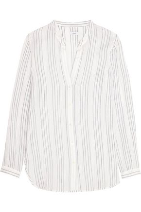VINCE. Striped cotton-gauze shirt