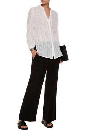 VINCE. Striped cotton-gauze shirt
