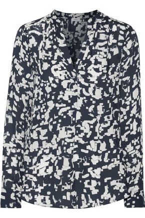 VINCE. Printed silk-georgette top