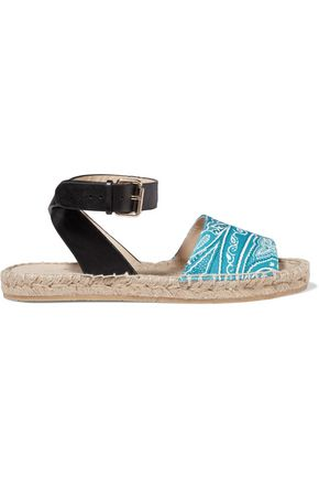 ETRO Leather-trimmed printed twill sandals