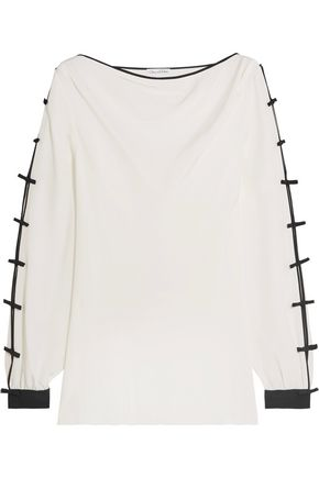 OSCAR DE LA RENTA Bow-embellished silk top